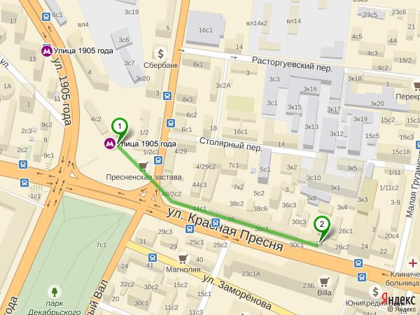 Пешком от м. Улица 1905 года до ЛДЦ «Арт-Мед»